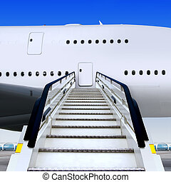 staircases and plane - frontal view of white ramp in airport...