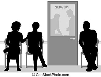 Operation time - Editable vector silhouettes of people...
