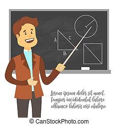 Teacher, professor standing in front of blank school blackboard vector illustration. School male teacher near blackboard