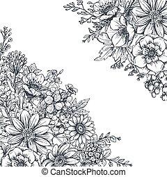 plantas, fondos, mano,  floral, dibujado, flores