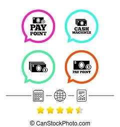 Cash and coin icons. Money machines or ATM. - Cash and coin...