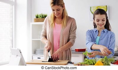 happy family cooking dinner at home kitchen - food, healthy...