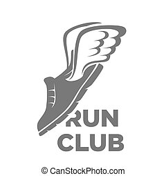 Professional run club logotype with flying shoe illustration