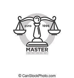 Master lawyer organization emblem with antique scales...