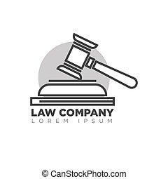 Law company office monochrome logotype with judges wooden...
