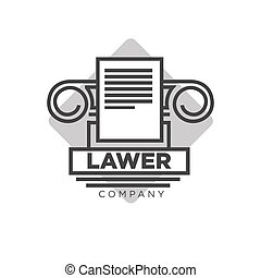Lawyer company logotype with antique pillar and document...
