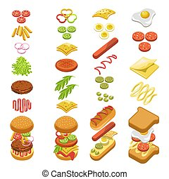 Preparing fast food step by step template colorful poster in...