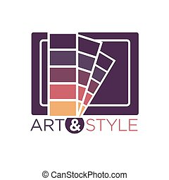 Art and style logotype with color palette isolated on white...