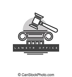 Lawyer office logotype with judges wooden hammer...