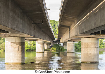 Motorway bridge over the river danube