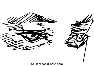 vector sketch of a careful man's eye - Black and white...