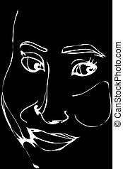 vector sketch of a crafty man smiling - Black and white...
