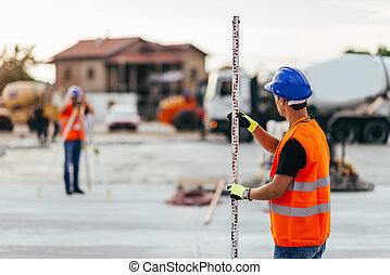 agrimensores, construção, local