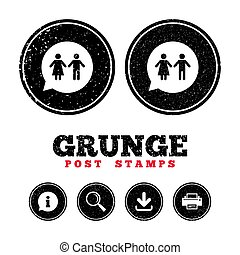 Toilet sign icon. Restroom symbol. - Grunge post stamps....