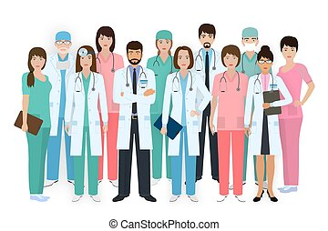 Group of doctors and nurses standing together in different poses. Medical people. Hospital staff.