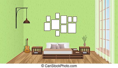 Interior of living room with empty frames, guitar, wood flooring and window. Loft design concept in hipster style.