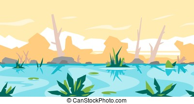 River Game Background Landscape - River with water lily and...