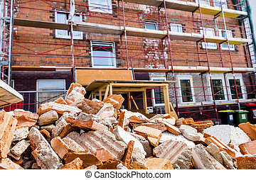 rubble on building site - rubble at a construction site...