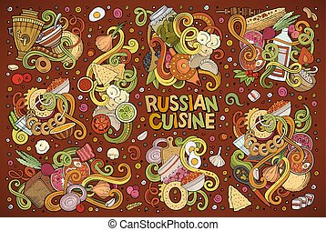 Vector cartoon set of Russian food doodles designs - Vector...