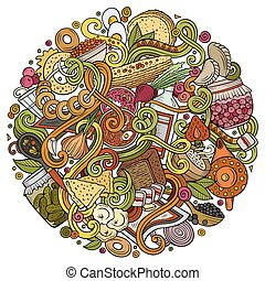 Cartoon cute doodles hand drawn Russian food illustration....