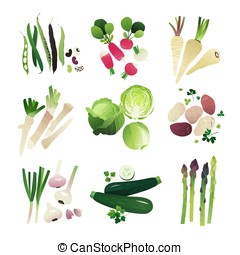 Veggie set 2 - Clip art vegetable collection of beans,...