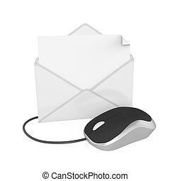 Envelope with Computer Mouse Isolated