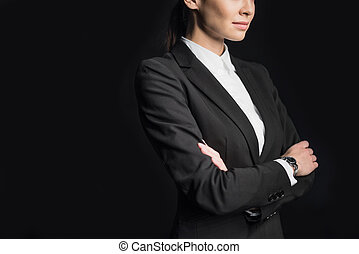 Young confident businesswoman - Midsection view of young...