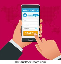 Railway tickets booking online app phone concept. Book your ticket online and pay the amount at anywhere in the world