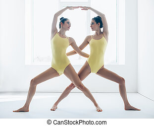 Two young women doing yoga asana warrior pose variation -...