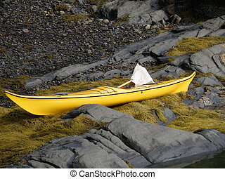 Yellow Kayak Sitting on Seaweed and Rocks in Casco Bay -...