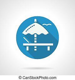 Umbrella and recliner flat round vector icon - Abstract...