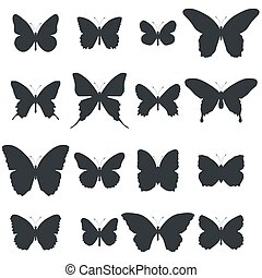 Set of butterfly shapes