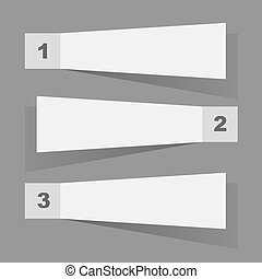 White paper sticky notes flat design vector template.