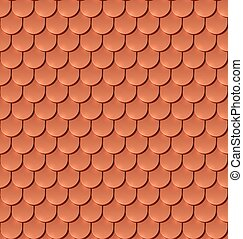 Copper tiles roof seamless vector pattern.