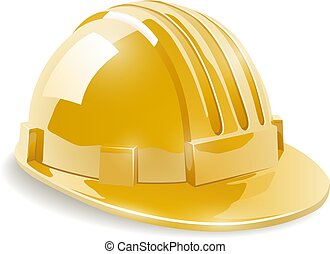 Yellow construction safety helmet isolated on white...