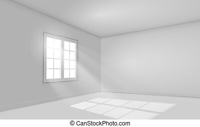 White sunlit empty room template. - White sunlit empty room...