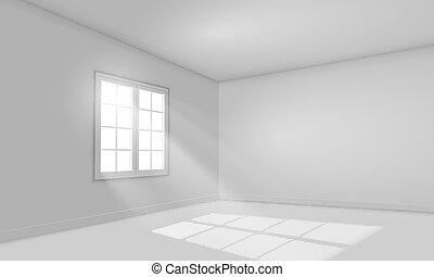 White sunlit empty room template. - White sunlit empty room...