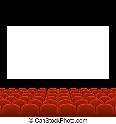 Cinema Movie Theatre with Red Seats and White Blank Screen. Vector