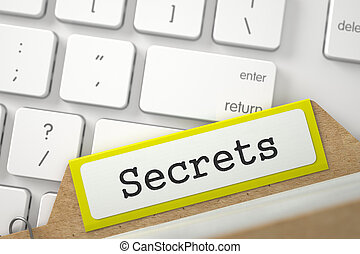 Card Index with Secrets. 3D. - Yellow File Card with Secrets...