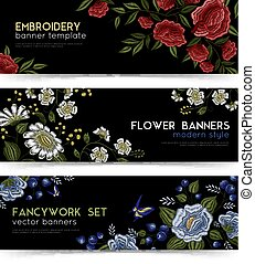 Floral Folk Embroidery Banners Set - Floral folk embroidery...