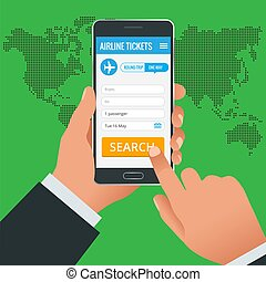Airline tickets booking online app phone concept. Book your ticket online and pay the amount at anywhere in the world. Vector illustration