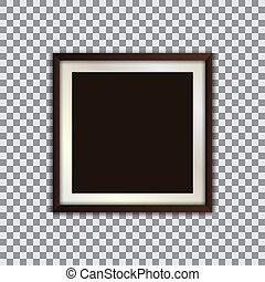 Square photo frame with shadow on a transparent background