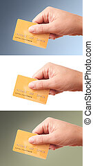 Big size images of hand holding plastic card, set of 3