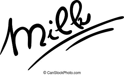 milk hand written - vector illustration