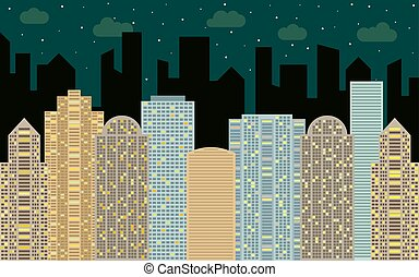Night urban landscape. Street view with cityscape