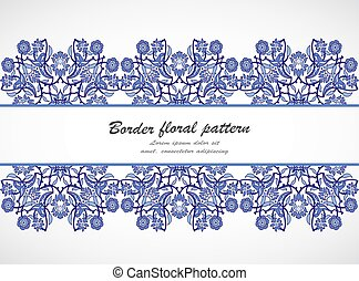 Arabesque vintage seamless border floral decoration print design template vector. Eastern style pattern. Ornamental illustration invitation, greeting card, wallpaper, wedding invitation, save the date