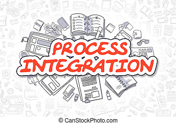 Process Integration - Cartoon Red Word. Business Concept. -...