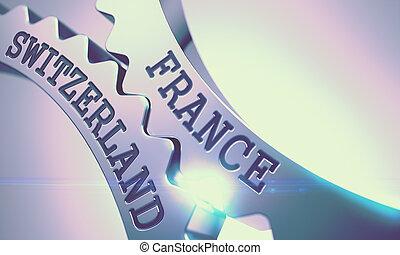 France Switzerland - Mechanism of Metal Cogwheels. 3D. -...