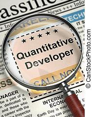 Quantitative Developer Wanted. 3D. - Quantitative Developer...
