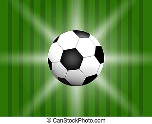 Football, soccer Ball Isolated on Football field Background with Space for Your Text.
